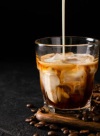 Iced coffee pour